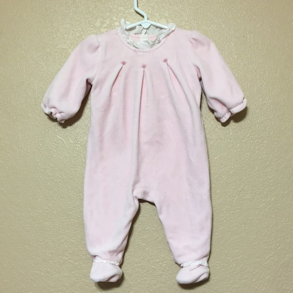 NWT Janie and Jack Baby Girls Pink Elephant Print Footed 1-Piece Sizes 0 3 6